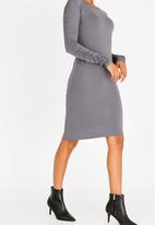 edit - Ruched Sleeve Dress Dark Grey