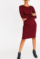 edit - Ruched Sleeve Dress Burgundy