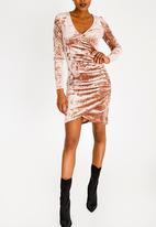 Sissy Boy - Lavine Velvet Wrap Dress Taupe