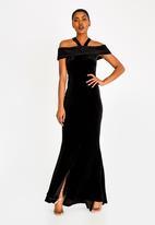 Sissy Boy - Shimmer Bardot Maxi Dress Black