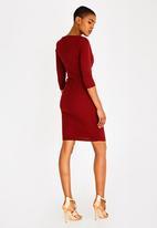 Sissy Boy - Girl Boss Asymmetric Dress with Pleat Detail Burgundy