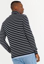 STYLE REPUBLIC - Jannie Striped Roll Neck Jersey Navy & White