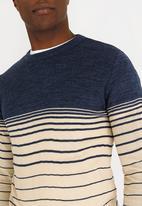 STYLE REPUBLIC - Schalk Dip Stripe Jersey Dark Blue