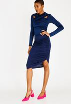 edit - Side Detail Pencil Skirt Navy
