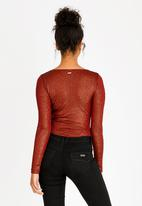 Sissy Boy - Wrap Detail Bodysuit Burgundy