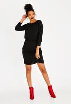 STYLE REPUBLIC - Drape Bodycon Dress Black