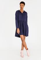 c(inch) - Babydoll Shirt Dress Dark Blue