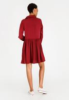 c(inch) - Babydoll Shirt Dress Burgundy