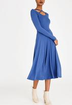 edit - Fit and Flare Dress with Neckline Detail Blue