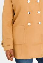 STYLE REPUBLIC PLUS - Classic Button Front Coat Camel/Tan