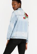 STYLE REPUBLIC - Embroidered Denim Jacket Pale Blue