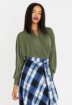 STYLE REPUBLIC - Wrap Front Bodysuit Dark Green