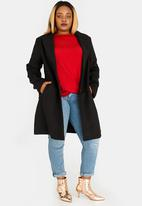 STYLE REPUBLIC PLUS - Classic Longer Length Coat Black