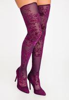 Plum - Delacey Thigh Knee Boots Dark Purple