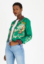 c(inch) - Silk-like Embroidered Bomber Jacket Green