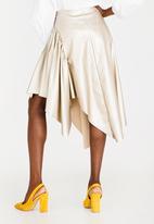 STYLE REPUBLIC - Leather Like Asymmetrical Skirt Gold