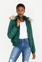 STYLE REPUBLIC - Essential Hooded Puffer Jacket Dark Green
