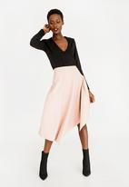 STYLE REPUBLIC - Leather Like Asymmetrical Skirt Pale Pink
