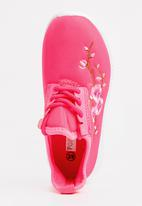 POP CANDY - Embroidered  Lace Up Sneaker Mid Pink