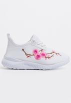 POP CANDY - Embroidered  Lace Up Sneaker White