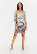 Revenge - Flower Shift Dress Brown