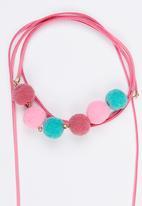 Jewels and Lace - Pom Pom Wrap Choker Dark Pink