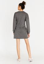 c(inch) - Lace-up Dress Dark Grey