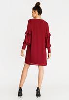 STYLE REPUBLIC - Volume Sleeve Dress Dark Red