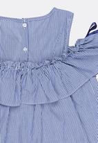 POP CANDY - Cold Shoulder Frill Top Pale Blue