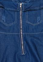 POP CANDY - Cold Shoulder Denim Dress Dark Blue