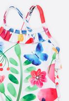 MINOTI - 1 Piece AOP Swimsuit with Tiered Frill detail Multi-colour