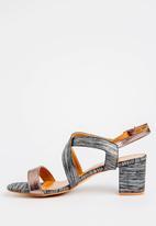 Butterfly Feet - Amarah Strapped Blocked Heels Black