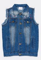 POP CANDY - Frayed Sleeveless Denim Jacket Blue