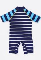 MINOTI - Infants boys blue stripe rash all in one - blue