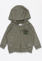 MINOTI - Cactus slub fleece hoodie - green