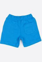 MINOTI - For real slogan fleece shorts - blue