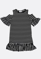 POP CANDY - Cold Shoulder Stripe Dress Black