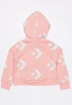Converse - Star chevron printed full zip hoodie - pink