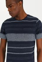 Brave Soul - Bamboon Striped Crew Neck Tee Navy
