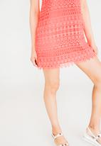 c(inch) - Crochet detail dress - coral
