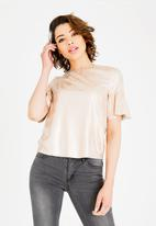 ONLY - Celine short sleeve faux suede frill top - beige