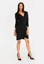 edit - Wrap over semi fitted dress - black