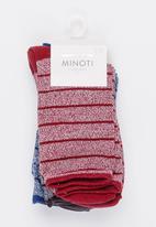 MINOTI - 3 Pack Mixed Yarn Ankle Socks Multi-colour