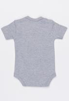 Funky Shop - Short sleeve slogan baby grow - grey