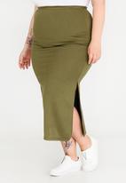 edit Plus - Maxi Skirt with Side Slits Khaki Green