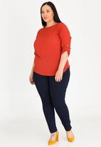 edit Plus - Basic Blouse with Sleeve Tab Detail - red
