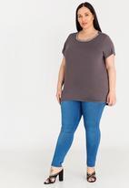edit Plus - Embellished T-shirt - Grey