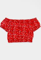 Rebel Republic - Bardot Crop Top Multi-colour