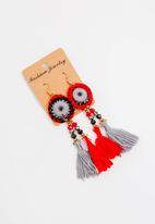 STYLE REPUBLIC - Earrings with tassel- red