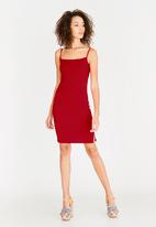 c(inch) - Slit Detail Bodycon Dress Red